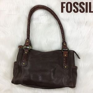 Fossil Pebbled Leather Satchel Bag Purse Brown